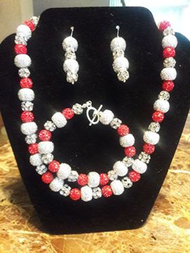Red and Silver Sparkling 3 piece set