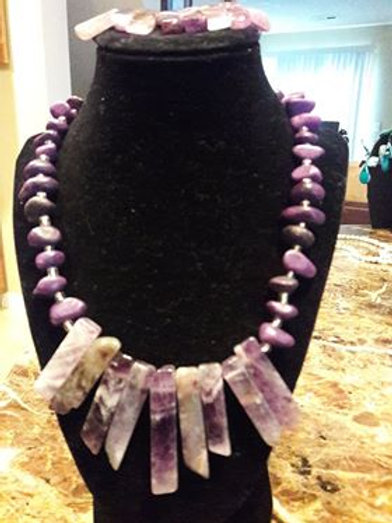Purple Rock Necklace and Bracelet