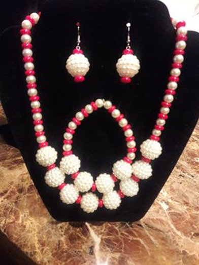 Red and Pearl 3 piece set