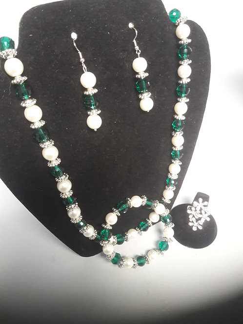 Green&Silver Beaded Necklace Set