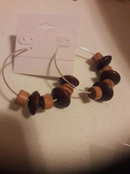 Brown Wooden Hoop Earrings