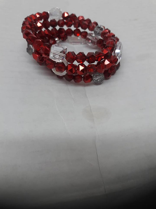 Ruby Red & Silver Wrapped Bracelet