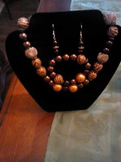 Wooden Pearl Necklace 3pc Set