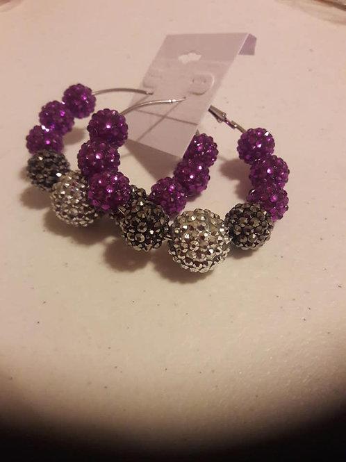 Purple & Silver Crystal Hoop Earrings