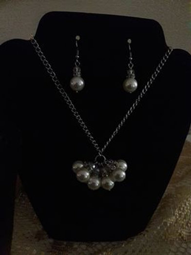 Pearl Chain Necklace and Earring set
