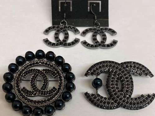 Black Chanel Set with 2 Brooches and Earrings