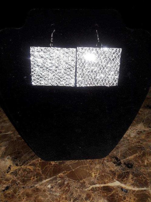 Square Sparkling Silver Felt Earrings