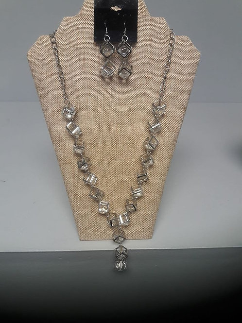 Silver Chain Square Necklace and Earring Set