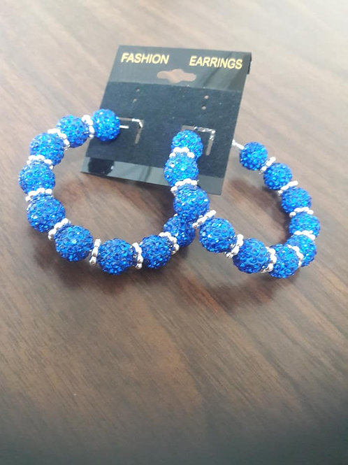 Blue & Silver Sparkling Hoop Earrings
