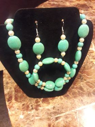 Turquoise and Pearl 3 piece set