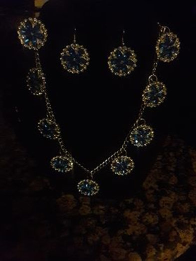 Silver and Blue Sparkling Necklace