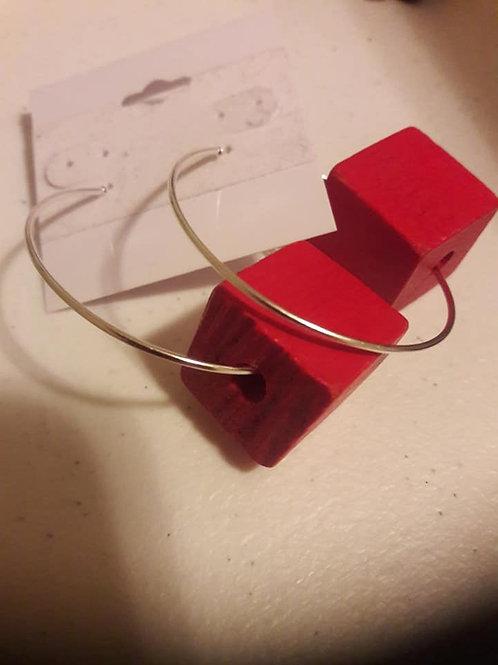 Red Cube Hoop Earrings
