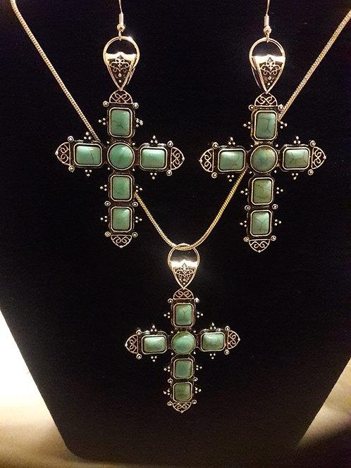 Light Green Cross Earrings & Necklace Sets