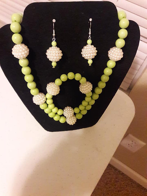 Flash on Flash off Lime Green and Pearl 3 piece Set!!