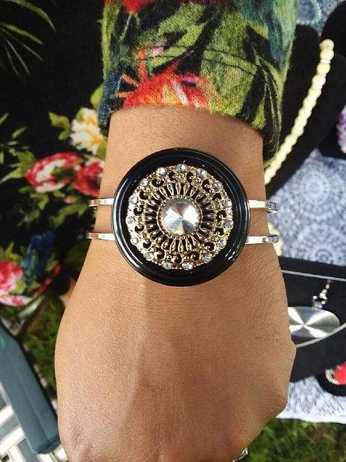 Black and Silver Bezel Bracelets