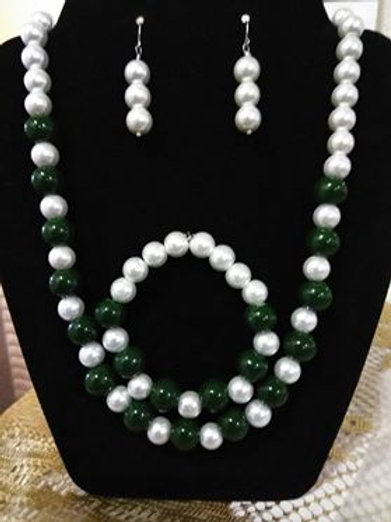 Dark Green n Pearl 3 pc Set