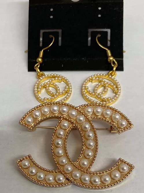 Gold and Pearl Chanel Brooch and Earring Set