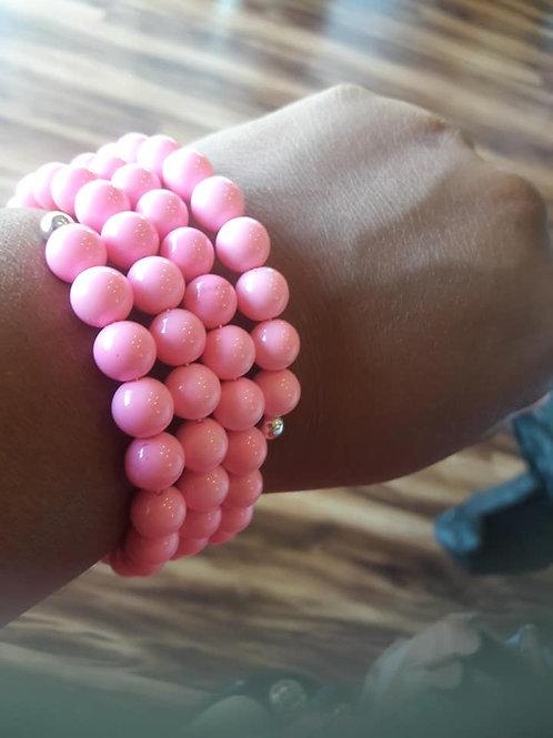 Pink Wire Wrapped Bracelet