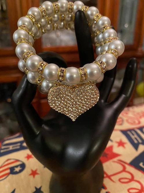 Gold & Pearl Heart Wire Bracelet