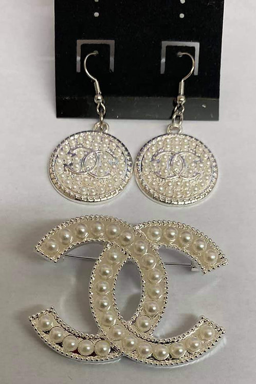Pearl Chanel Brooch and Earring Set