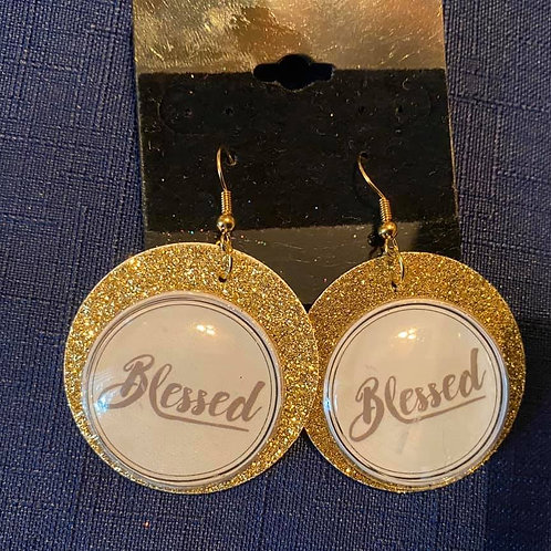 Gold Felt Blessed Earrings