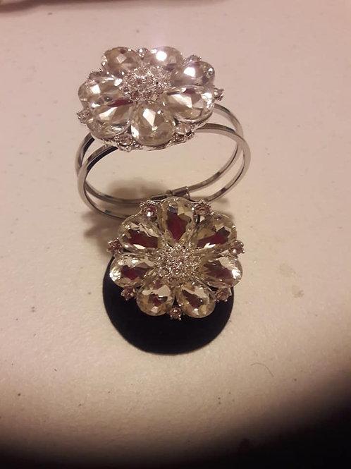 Silver & Crystal Bracelet,Ring Set