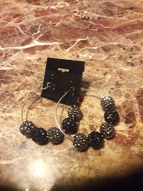 Black&SilverSmallCircleHoopEarrings