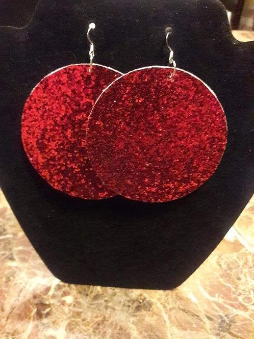 Red Sparkling Felt Earrings