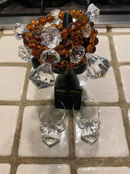 Bronze& Clear Wire Bracelet Sets