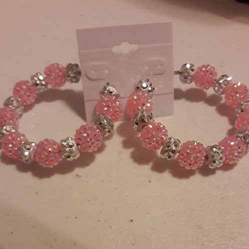 Pretty In Pink & Silver Hoop Earrings