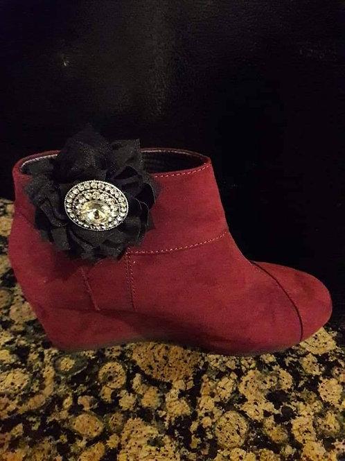 Black Center Brooch Flower Shoe Ornament