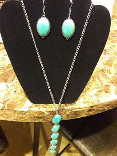 Turquoise Chain Earring and Necklace set
