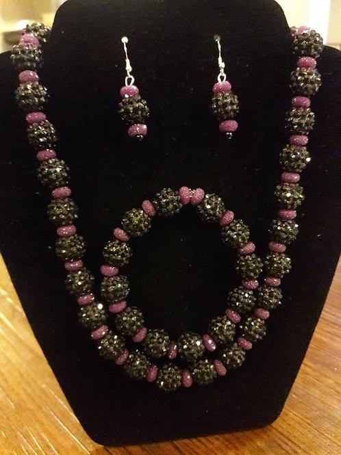 Purple and Black sparkling 3 piece set