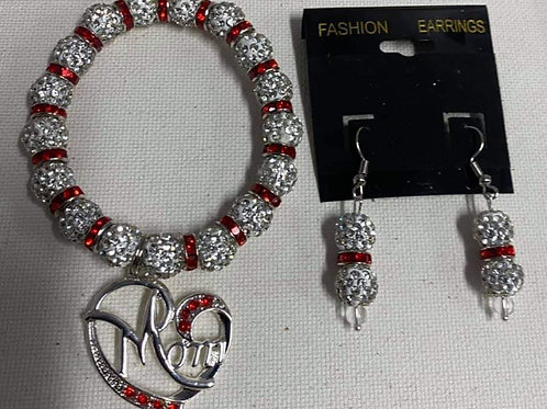 Silver & Red Rhinestone Bracelet and Earring Set