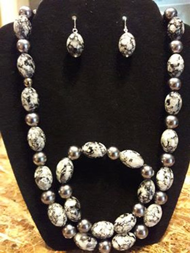 Black, White, and Gray Snakeskin and Pearl 3 pc Set
