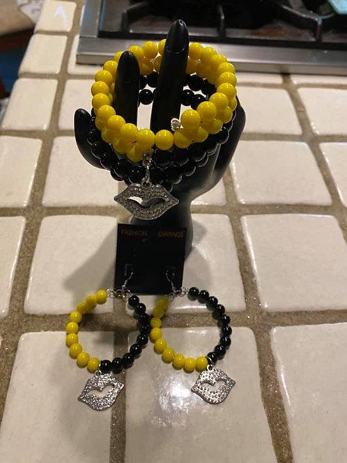 Kiss My Lips Yellow & Black Bracelet Set