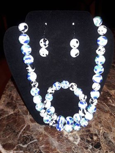 Blue & White Beaded Necklace 3 pc Set