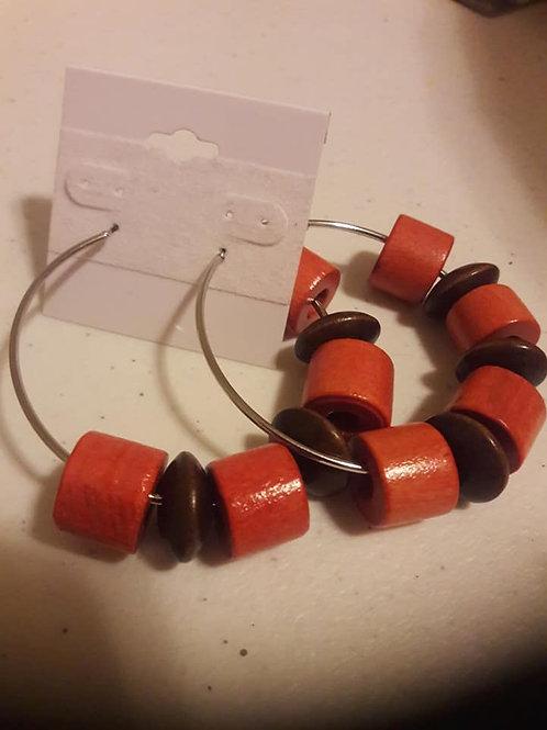 Half Circle Red & Brown Hoop Earring