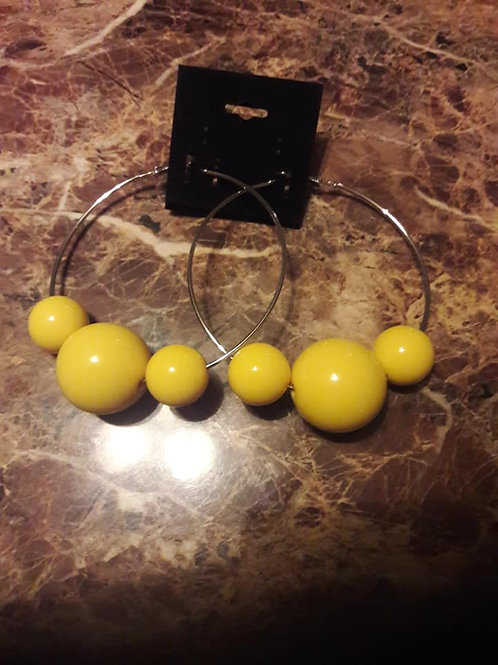YellowCircleHoopEarrings