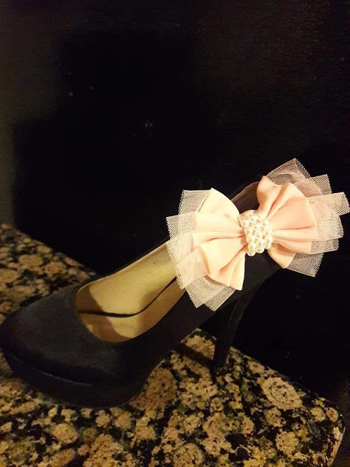 BLACK&PEACH BOW ORNAMENT