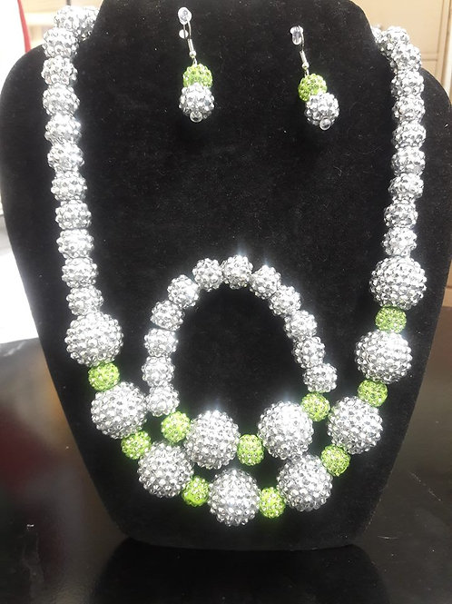 Lime Green & Silver Sparkling Necklace Set