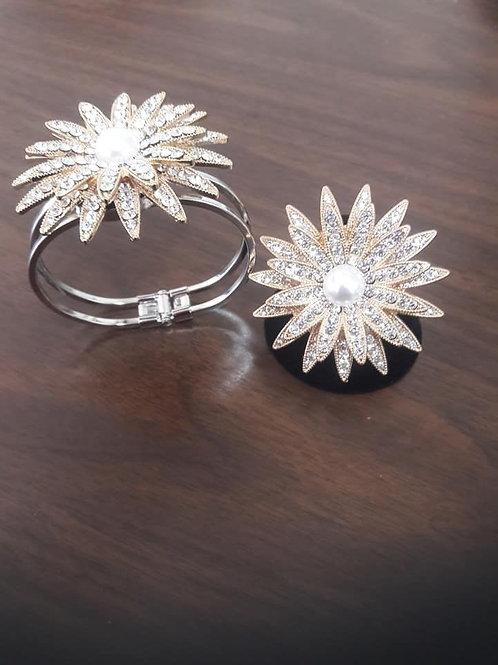 Sparkling Gold & Silver /Pearl Ring/Bracelet Set