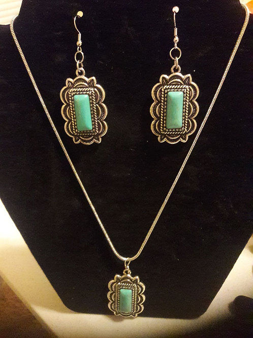 Turquoise & Silver Earrings Necklace Set