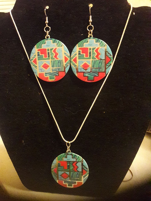 The Map Design Earrings & Necklace Set