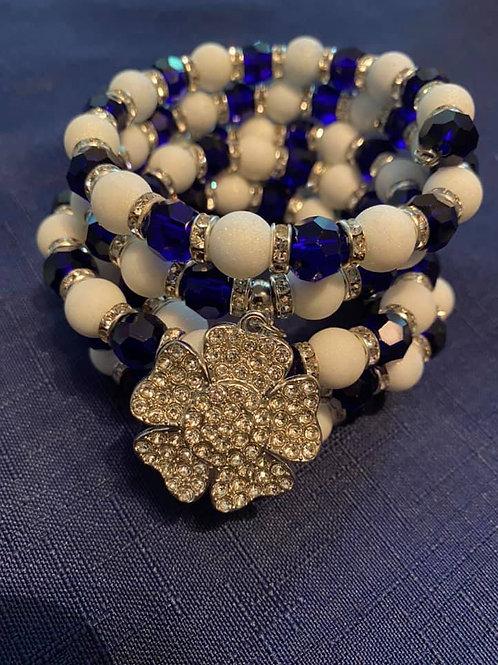 Blue & Pearl Ribbon Wire Bracelet