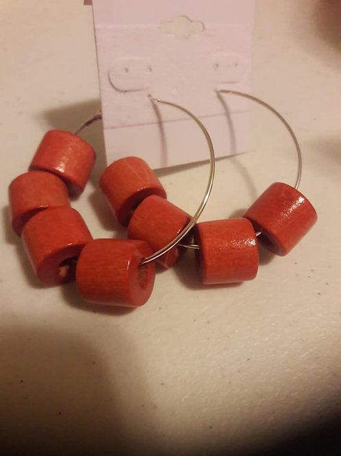 Red Half Circle Hoop Earrings