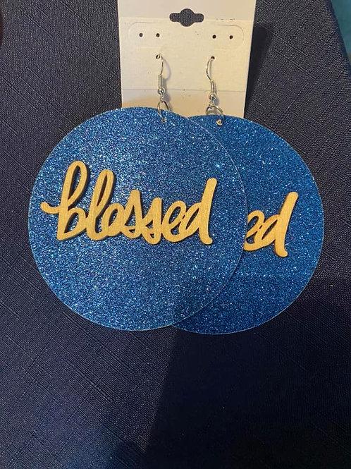 Felt Blue & Gold Blessed Earrings