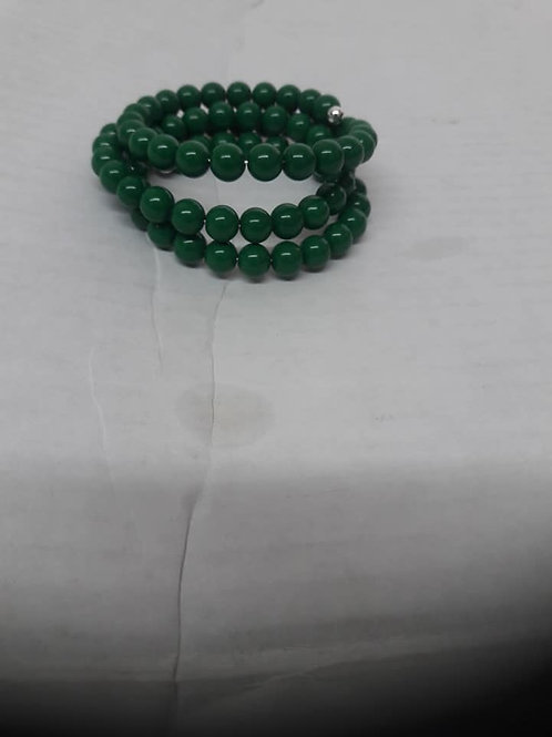 Dark Green Wire Wrap Bracelet