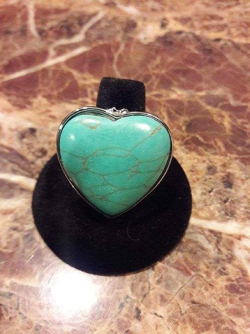 Elegant Accessories Turquoise Heart Ring