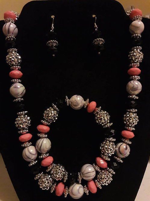 Pink and Silver Necklace 3 pc Set